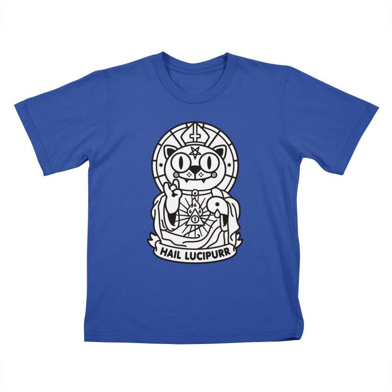 Hail Lucipurr B/W Kids T-Shirt by SuperHappyMagic