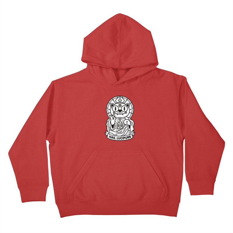 Hail Lucipurr B/W Kids Pullover Hoody by SuperHappyMagic