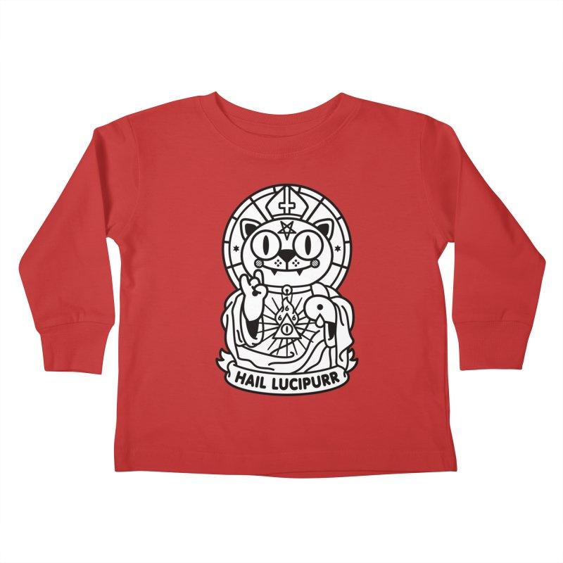 Hail Lucipurr B/W Kids Toddler Longsleeve T-Shirt by SuperHappyMagic