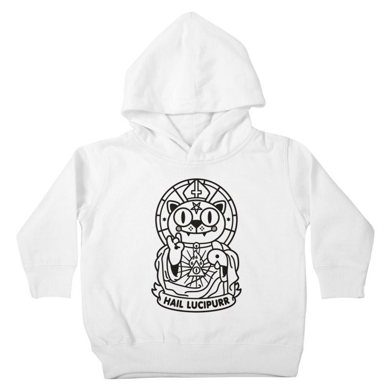 Hail Lucipurr B/W Kids Toddler Pullover Hoody by SuperHappyMagic