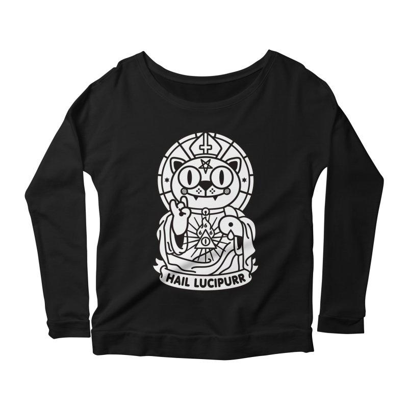 Hail Lucipurr B/W Women's Scoop Neck Longsleeve T-Shirt by StudioDelme