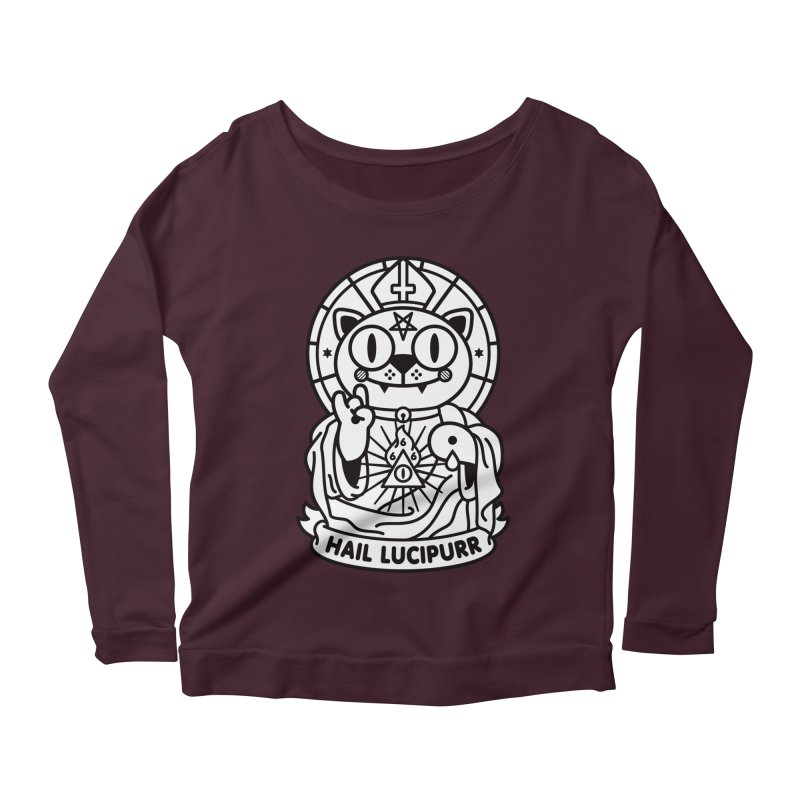 Hail Lucipurr B/W Women's Scoop Neck Longsleeve T-Shirt by SuperHappyMagic