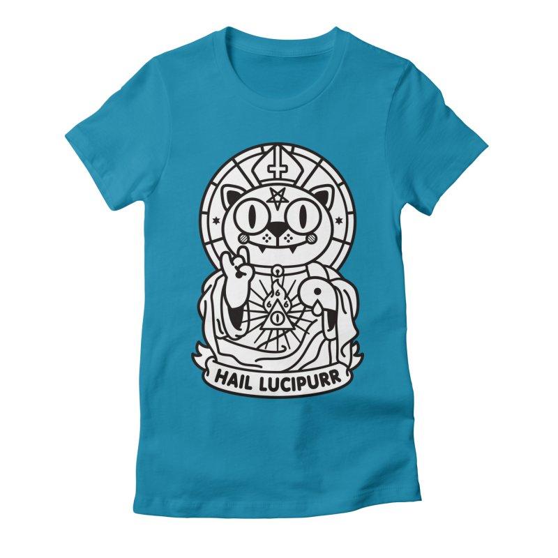Hail Lucipurr B/W Women's Fitted T-Shirt by SuperHappyMagic