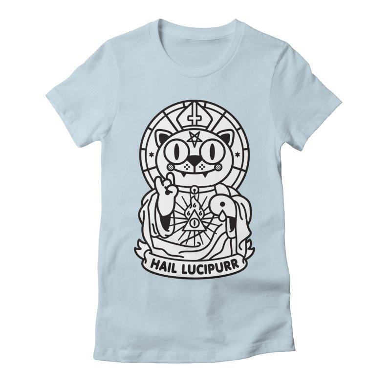 Hail Lucipurr B/W Women's Fitted T-Shirt by StudioDelme