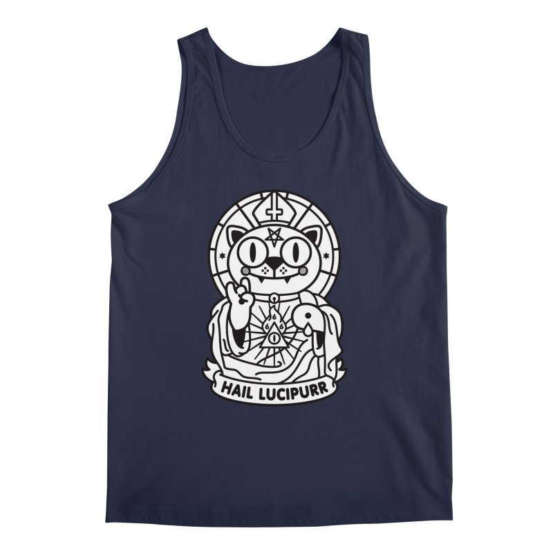 Hail Lucipurr B/W Men's Tank by SuperHappyMagic