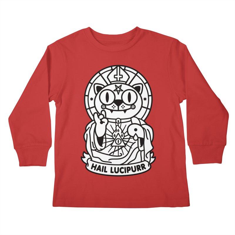 Hail Lucipurr B/W Kids Longsleeve T-Shirt by StudioDelme
