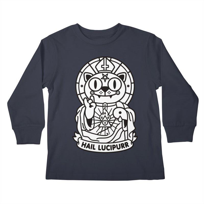 Hail Lucipurr B/W Kids Longsleeve T-Shirt by SuperHappyMagic