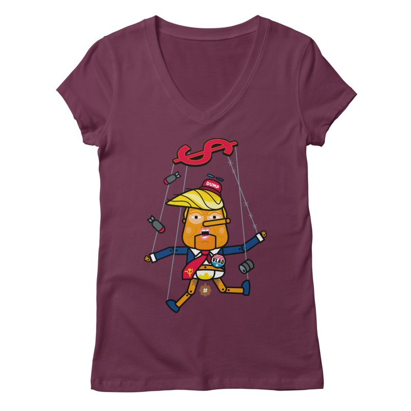 No, you're the puppet Women's V-Neck by SuperHappyMagic