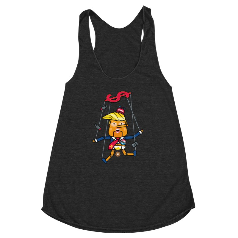 No, you're the puppet Women's Racerback Triblend Tank by SuperHappyMagic