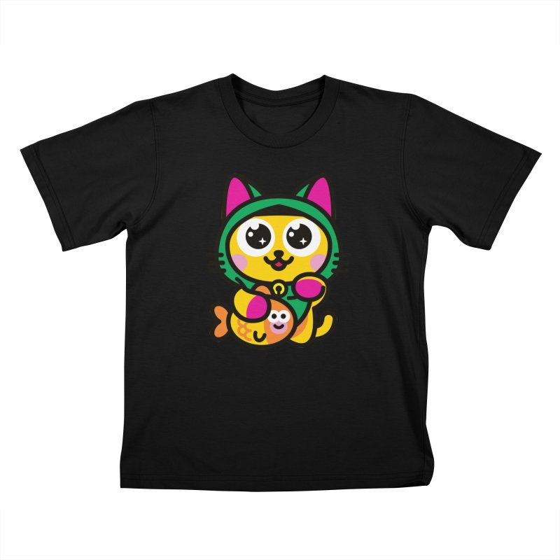 Muezza Kids T-Shirt by SuperHappyMagic