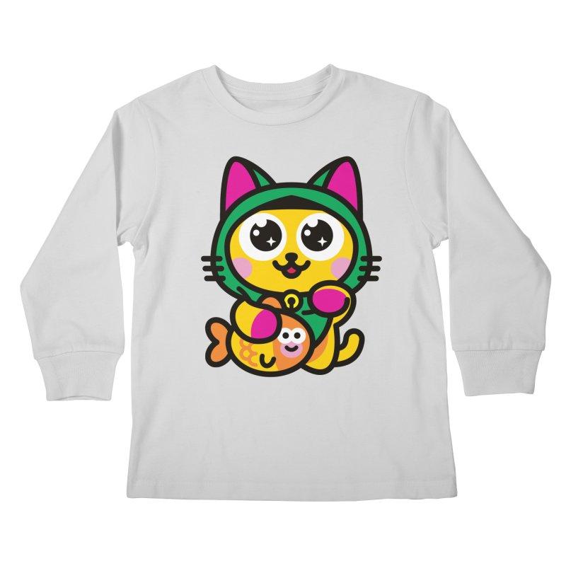 Muezza Kids Longsleeve T-Shirt by SuperHappyMagic