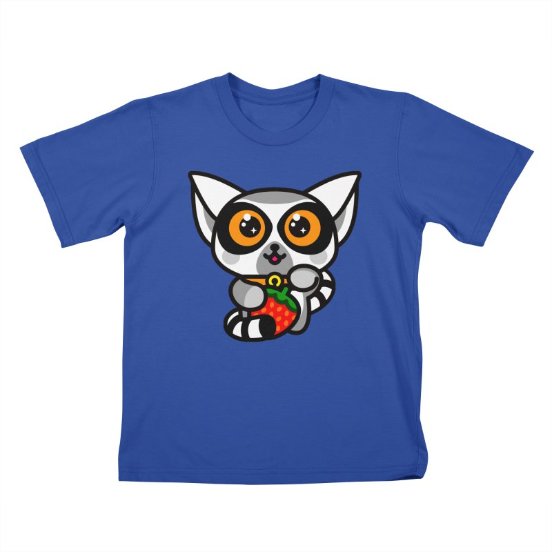 Lucky Lemur in Kids T-Shirt Royal Blue by StudioDelme