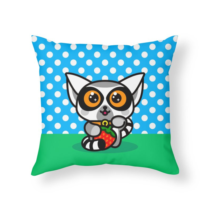 Lucky Lemur Home Throw Pillow by SuperHappyMagic