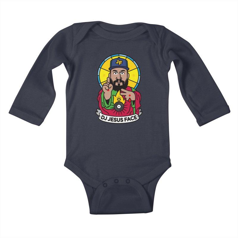 DJ Jesus Face Kids Baby Longsleeve Bodysuit by StudioDelme