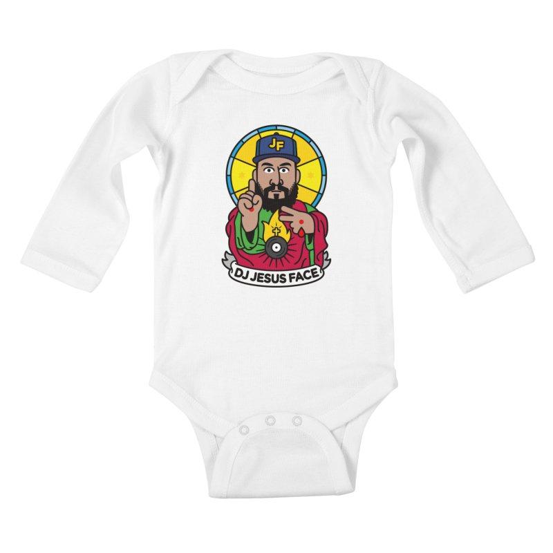 DJ Jesus Face Kids Baby Longsleeve Bodysuit by SuperHappyMagic