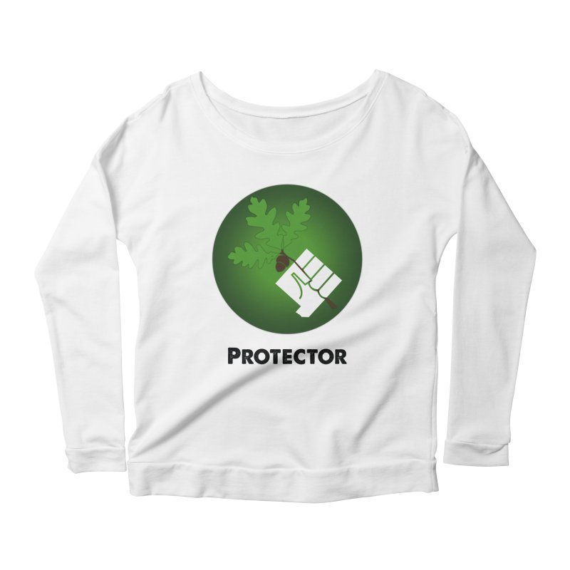 Protector in Women's Longsleeve Scoopneck  White by Sustain DuPage's Artist Shop
