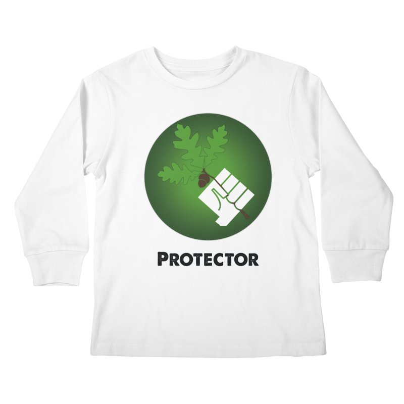 Protector in Kids Longsleeve T-Shirt White by Sustain DuPage's Artist Shop