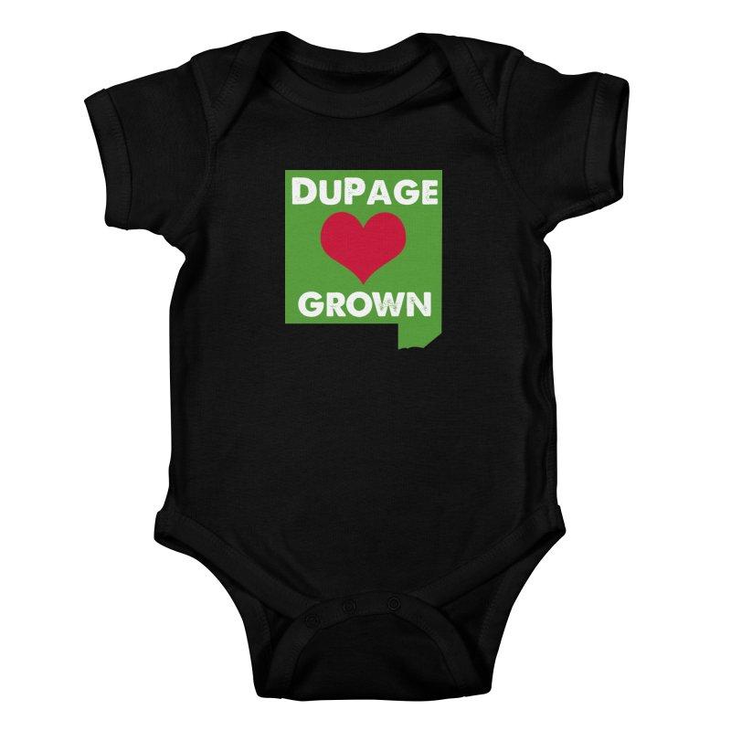 DuPageGrown in Kids Baby Bodysuit Black by Sustain DuPage's Artist Shop