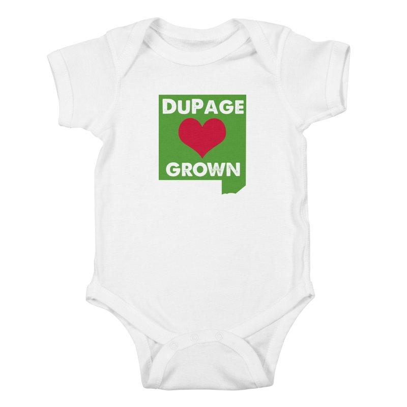 DuPageGrown in Kids Baby Bodysuit White by Sustain DuPage's Artist Shop