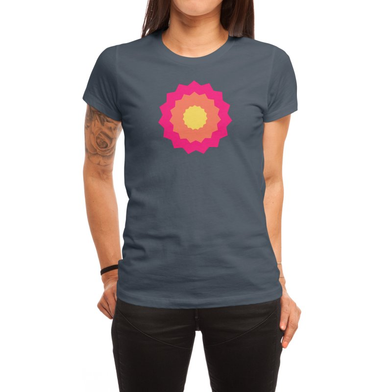 Pink Retro Star With Orange and Yellow Women's T-Shirt by SweetAlmondStudio's Artist Shop