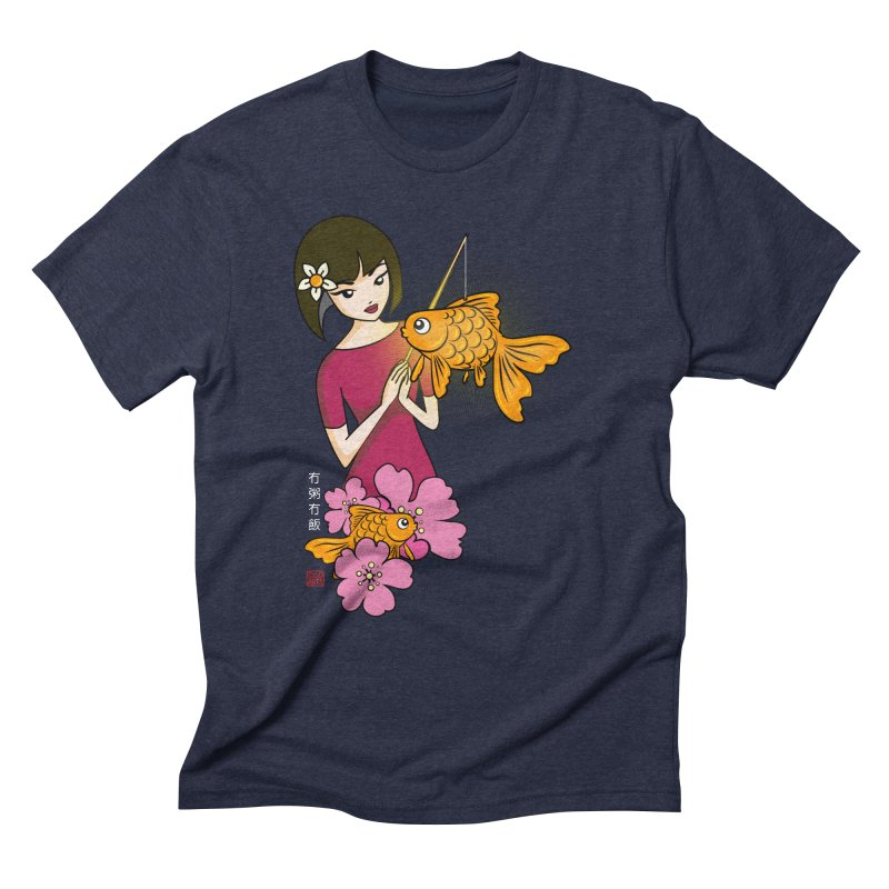 The Girl with the Goldfish Lantern Men's Triblend T-Shirt by No Porridge No Rice