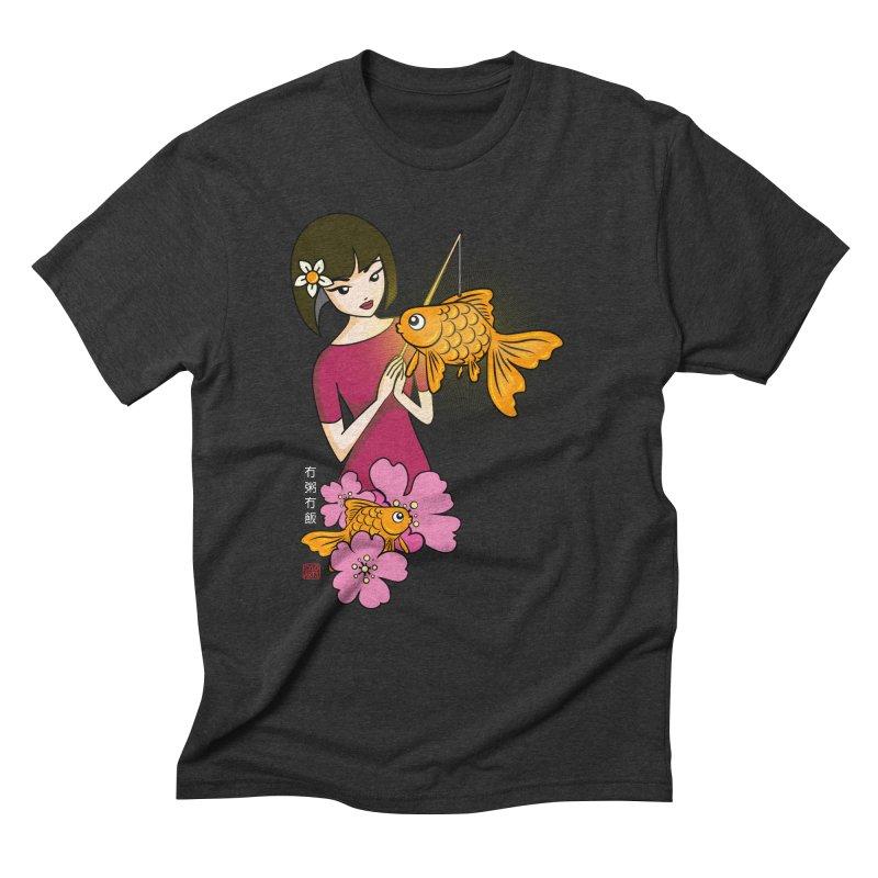 The Girl with the Goldfish Lantern Men's Triblend T-Shirt by No Porridge No Rice