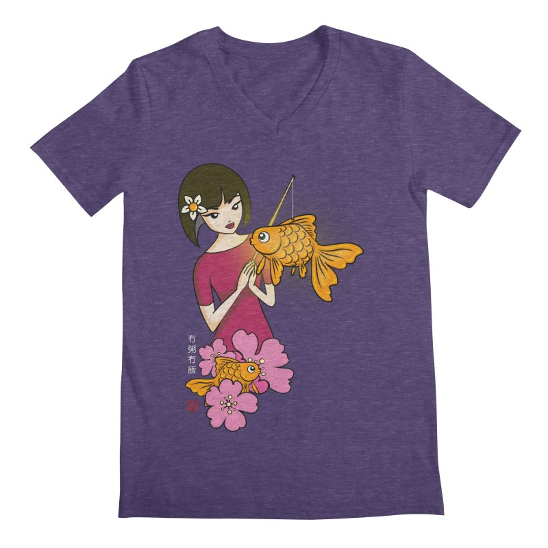 The Girl with the Goldfish Lantern Men's Regular V-Neck by No Porridge No Rice