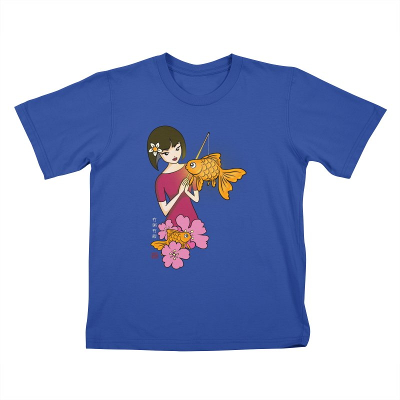 The Girl with the Goldfish Lantern Kids T-Shirt by No Porridge No Rice