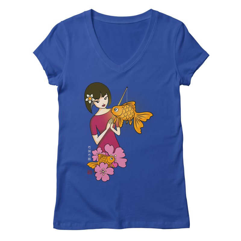 The Girl with the Goldfish Lantern Women's Regular V-Neck by No Porridge No Rice