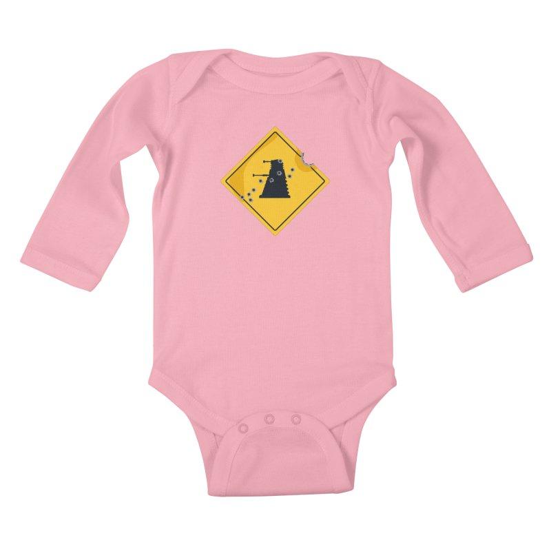 Dalek Crossing Kids Baby Longsleeve Bodysuit by TCarver T-shirt Designs