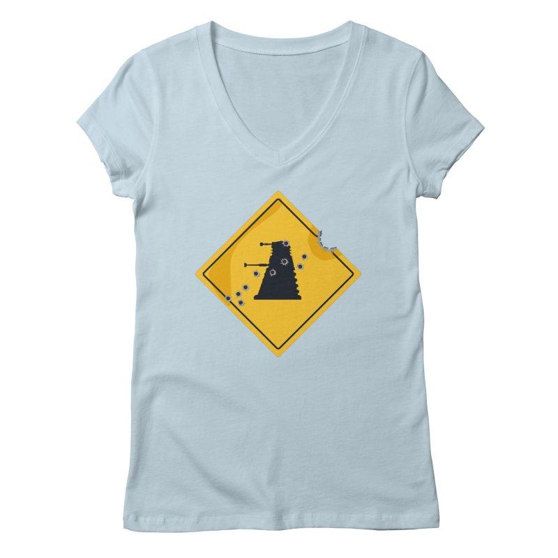 Dalek Crossing Women's V-Neck by TCarver T-shirt Designs