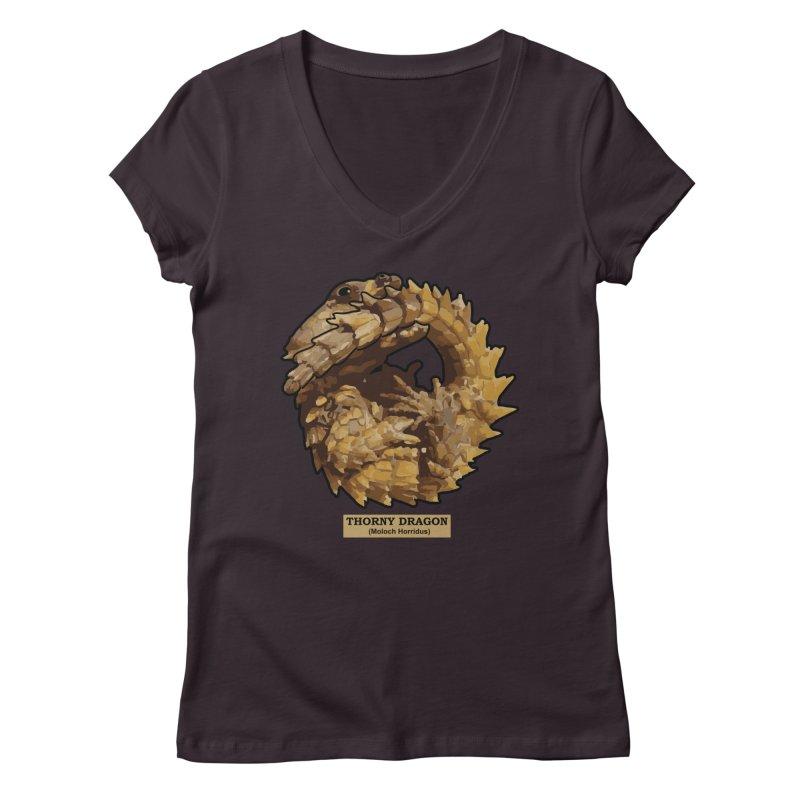 Thorny Dragon Women's V-Neck by TCarver T-shirt Designs