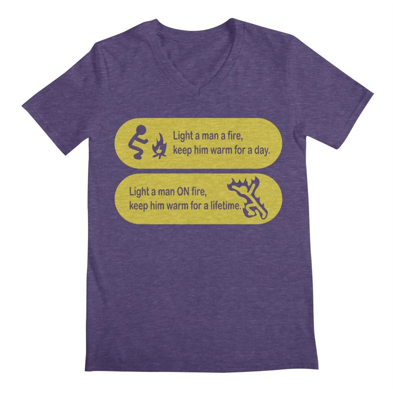 Light a Man a Fire ... Men's V-Neck by TCarver T-shirt Designs