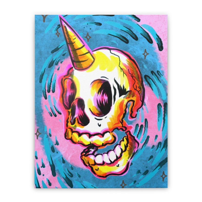 Unicorn Skull Home Stretched Canvas by TDUB951