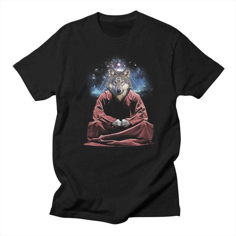 Aware Wolf in Men's Regular T-Shirt Black by TDUB951