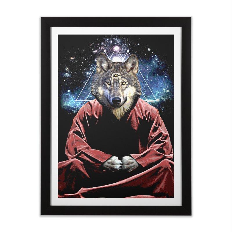 Aware Wolf in Framed Fine Art Print Black by TDUB951
