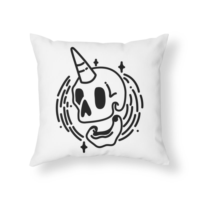 Uniskull Mono Home Throw Pillow by TDUB951