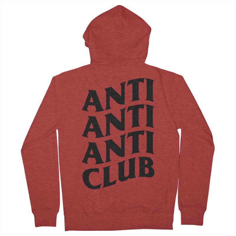 Anti Anti Anti Club in Men's French Terry Zip-Up Hoody Heather Red by TDUB951