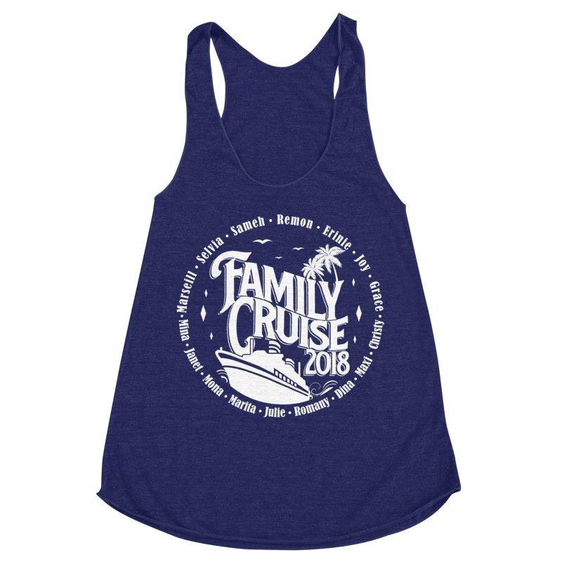 Family Cruise 2018 - White Print Women's Racerback Triblend Tank by TDUB951