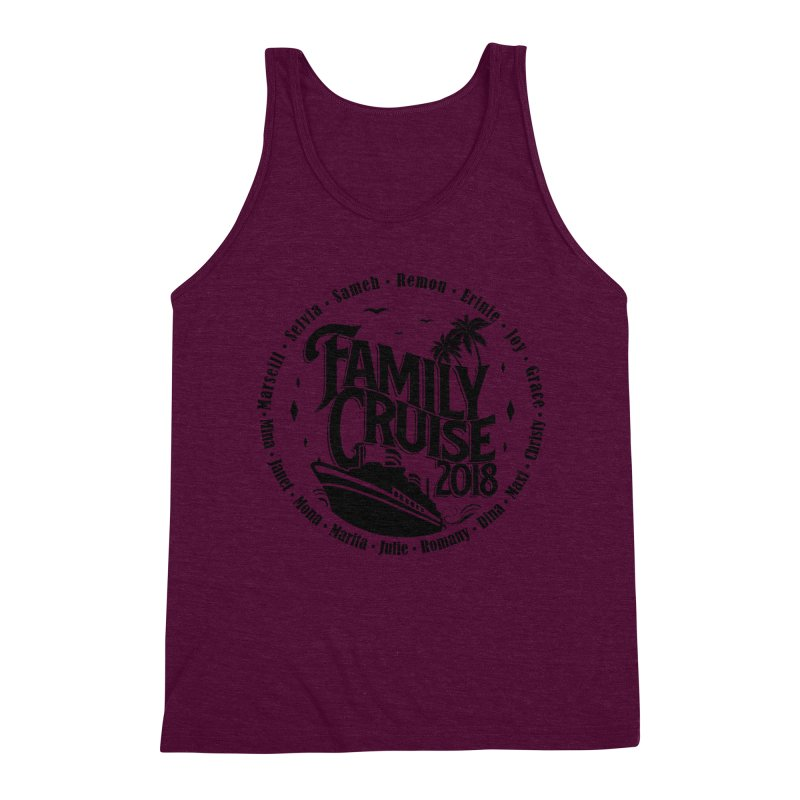 Family Cruise 2018 - Black Print Men's Triblend Tank by TDUB951