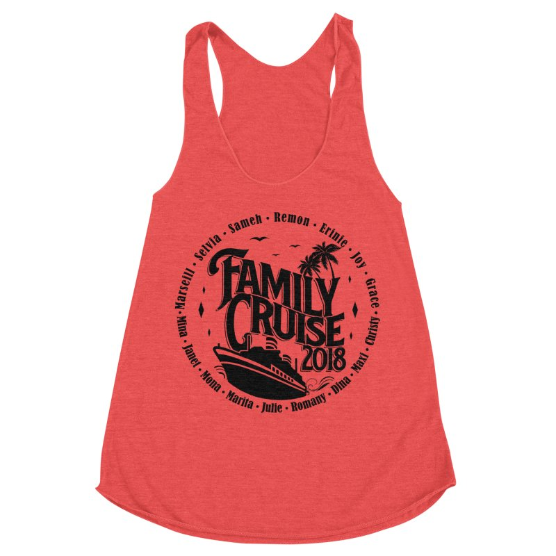 Family Cruise 2018 - Black Print Women's Racerback Triblend Tank by TDUB951