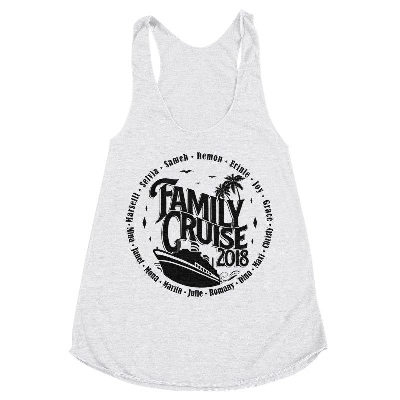 Family Cruise 2018 - Black Print Women's Racerback Triblend Tank by TDUB951