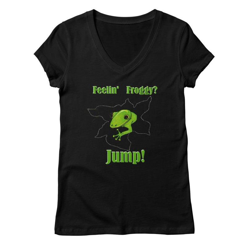 Feelin' Froggy Women's V-Neck by TKK's Artist Shop