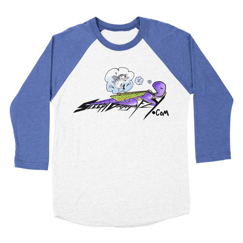 Sleepy Dragonfly's Fishing Adventures Logo with Fat Larry Men's Baseball Triblend Longsleeve T-Shirt by TKK's Artist Shop
