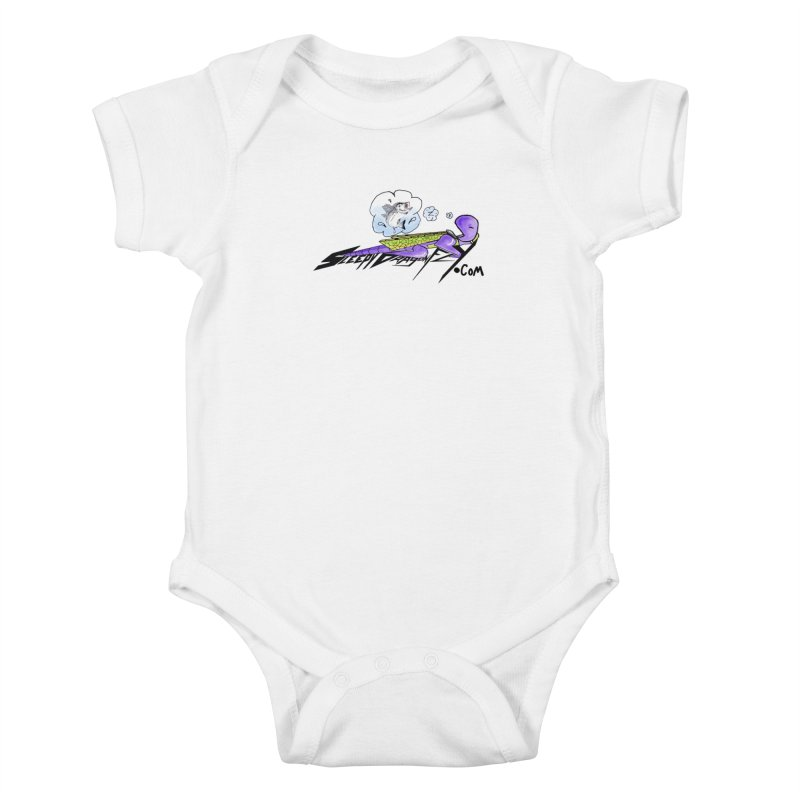 Sleepy Dragonfly's Fishing Adventures Logo with Fat Larry Kids Baby Bodysuit by TKK's Artist Shop