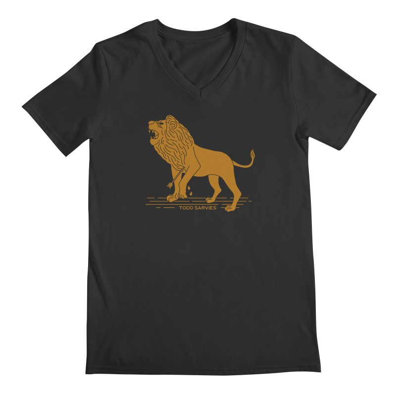 WOUNDED LION LOGO Men's V-Neck by TODD SARVIES BAND APPAREL