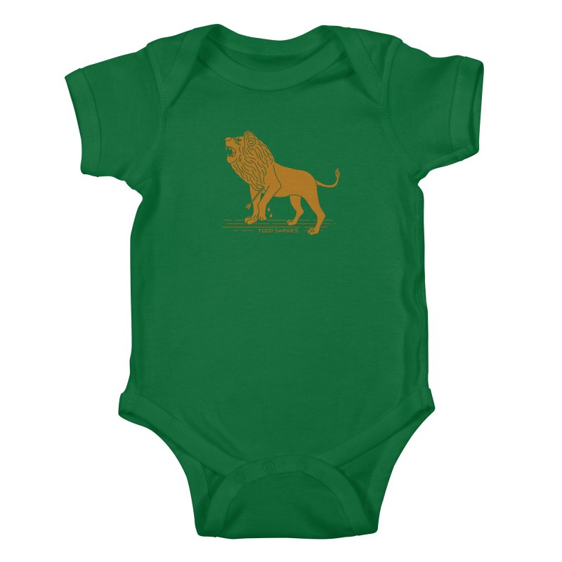WOUNDED LION LOGO Kids Baby Bodysuit by TODD SARVIES BAND APPAREL