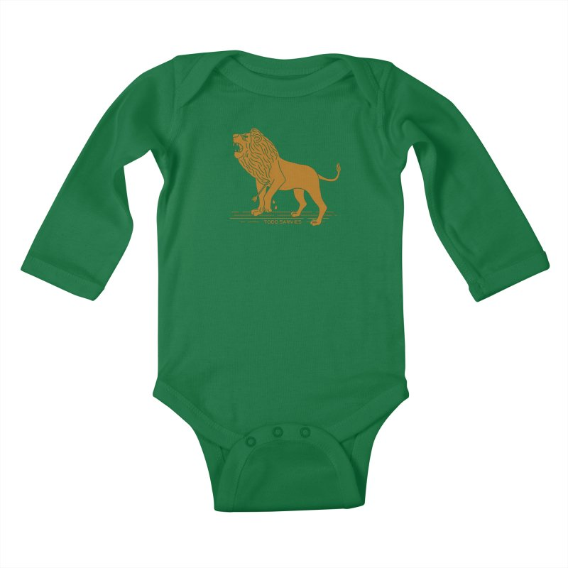 WOUNDED LION LOGO Kids Baby Longsleeve Bodysuit by TODD SARVIES BAND APPAREL