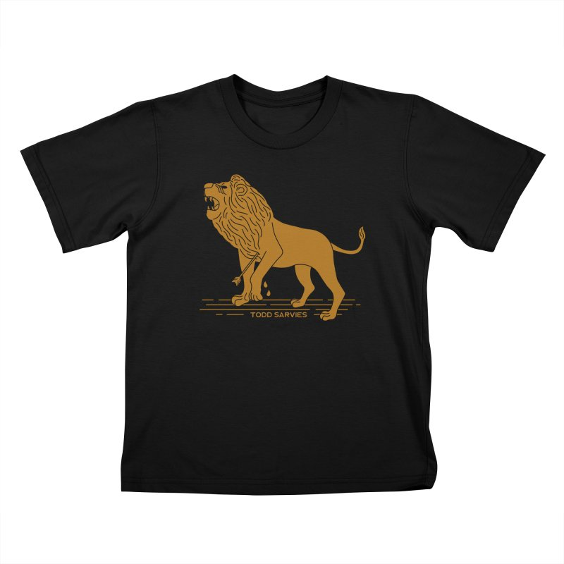 WOUNDED LION LOGO Kids T-Shirt by TODD SARVIES BAND APPAREL