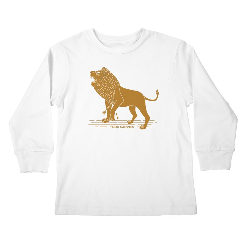 WOUNDED LION LOGO Kids Longsleeve T-Shirt by TODD SARVIES BAND APPAREL
